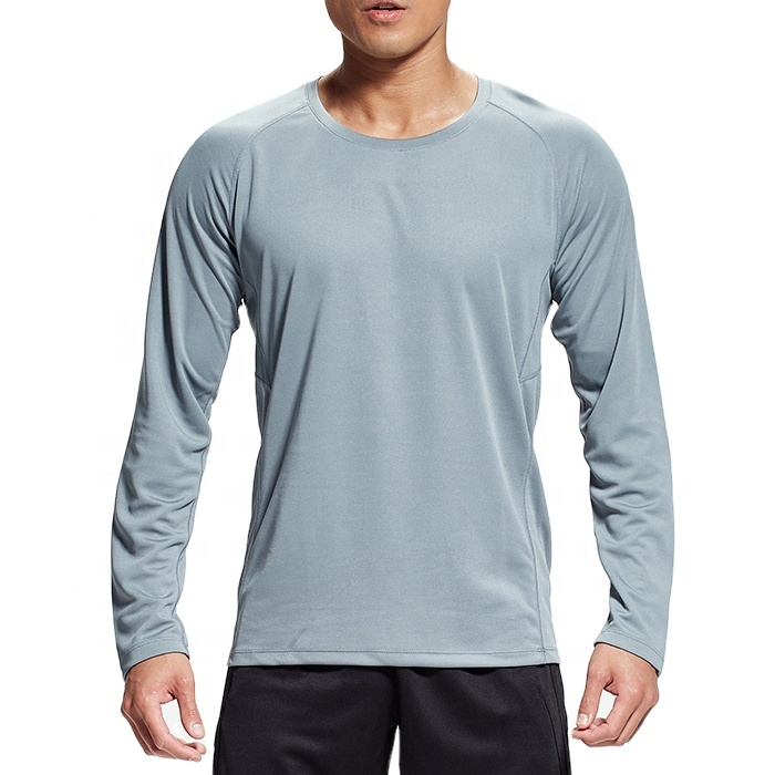 Nuovo Arrivo del Commercio All'ingrosso Quick Dry 100 Poliestere Tinta Unita A Maniche Lunghe Mens Sport In Bianco Logo Personalizzato T shirt con Striscia Riflettente