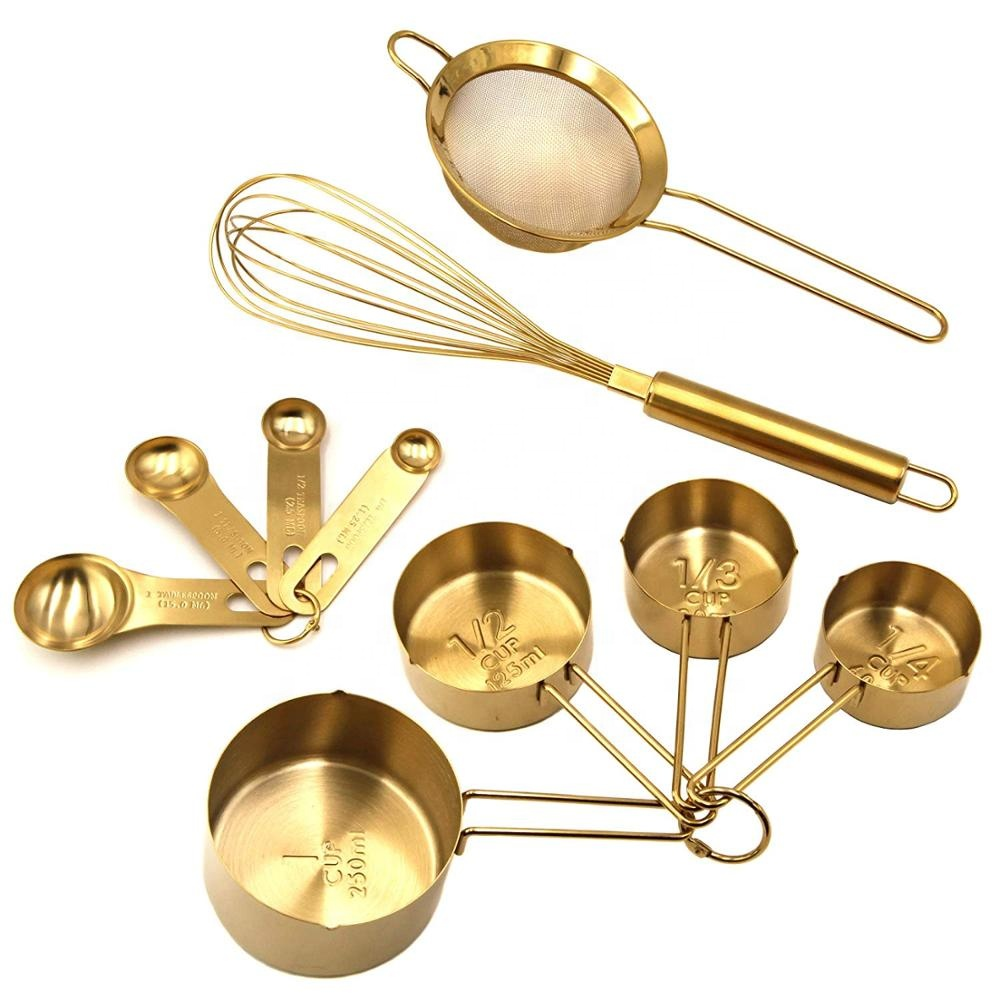 BAKING SET custom fashion wholesale <strong>Measuring</strong> <strong>Spoons</strong> Set Rose Gold Plated Metal Teaspoons nd Tablespoons with Detachable Ring