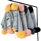 Women Winter Short Style Rex Rabbit Fur Lining Jacket Coat Customize Fashion Denim Jean Jacket with Fur