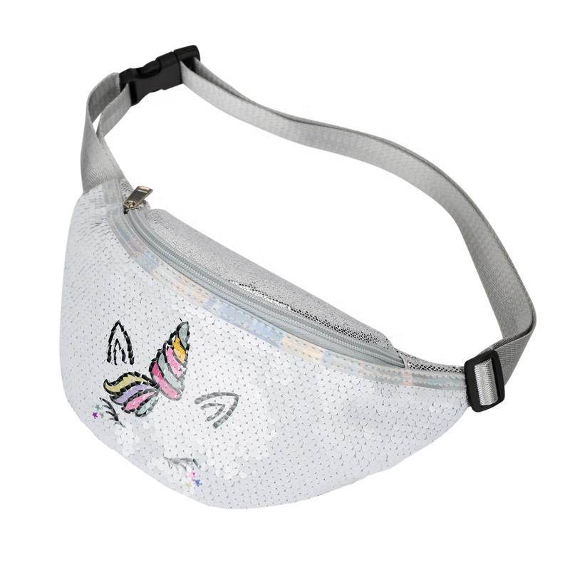 Heopono Nice Design Custom Low MOQ Fashion Zippered Waist Bag Adults Women Men Pallette Unicorn Sequins Fanny Pack