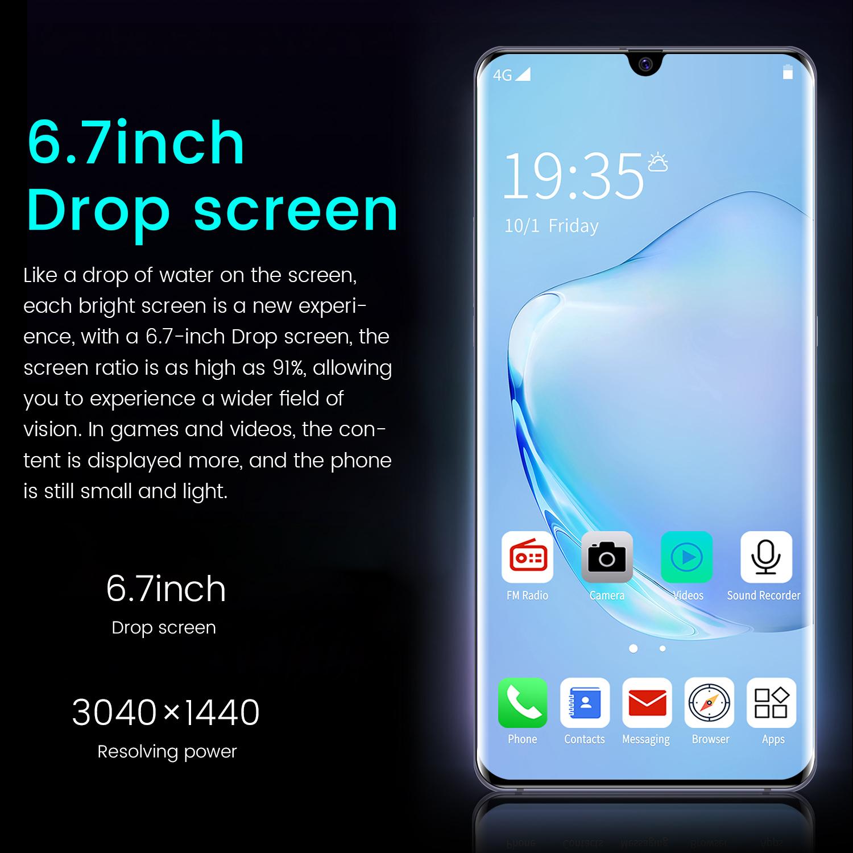 New Note20+ unlocked 8GB+256GB Smartphone  6.7 inch  Android 4G Telephone Smartphone Waterdrop  Mirror screen Gamephone