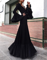 2019 high top quality black sequins mermaid long sleeves prom dress