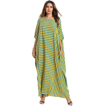 2019 Latest style wholesale Ladies arabic Muslim Women Dress Simple Abaya Stripe Design Dubai Kaftans dress isalmic clothing