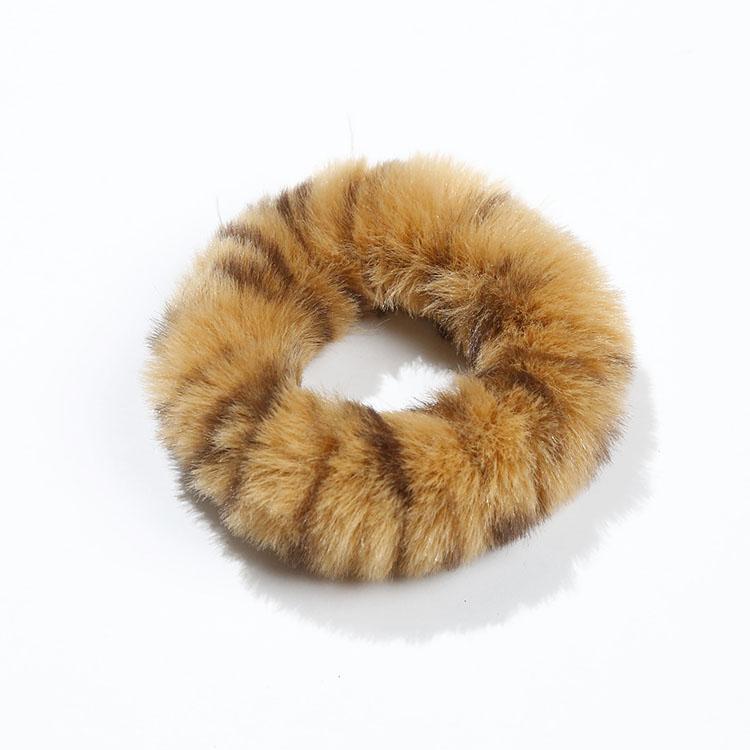 Kadın saç aksesuarları halat kızlar bulanık leopar taklit kürk tavşan saç Scrunchies elastik ponpon saç bağları