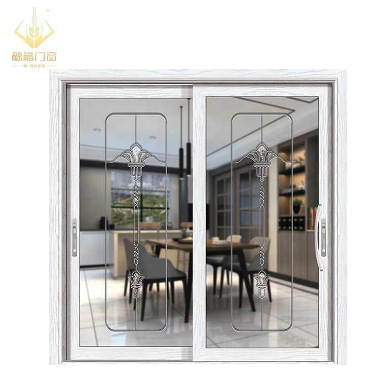 Wholesale price french with white  aluminum alloy sliding glass door