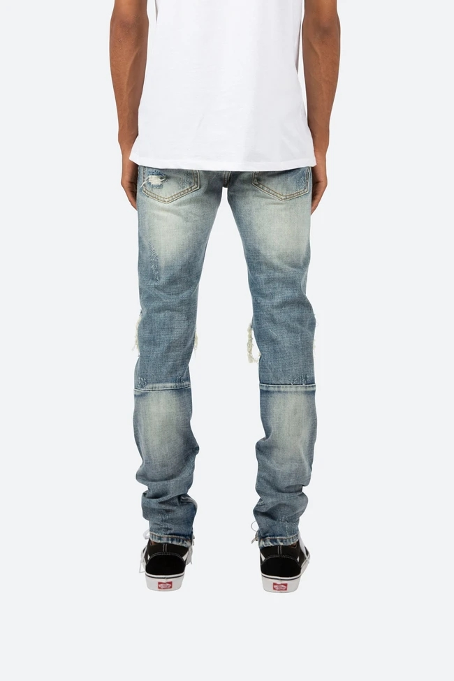 Hand splattered italian men vintage dirty stretch paint denim paint ripped jeans