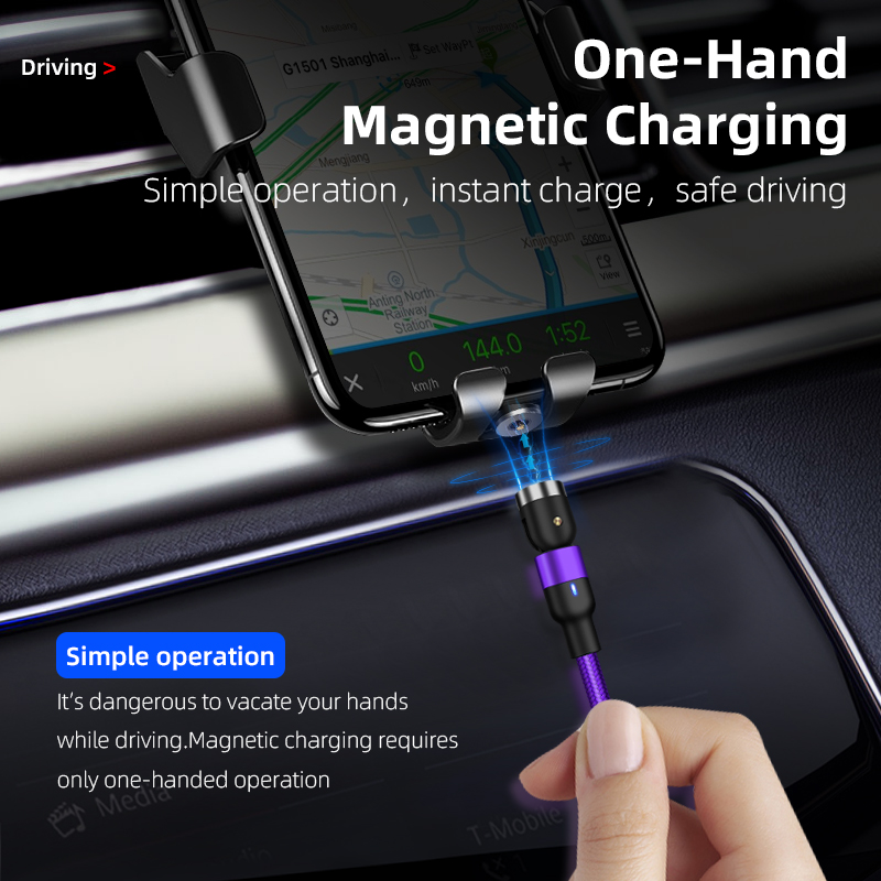On Stock 3.3ft 6.6ft Magnetic Phone Charger Cable 540 degree Free Rotation 3 in 1 Charger Magnetic charger USB C Charging Cable