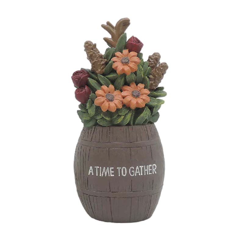 "Bucket Flowerpot And Resin Flower-""A Time To Gather"" Resin Succulent Flower Pot Fall Decorations For Home"