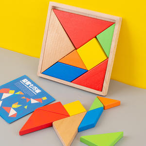 Factory Supply Wooden Tangram Puzzle Student Teaching Early Educational Toy Colorful Intelligent Puzzle Toy