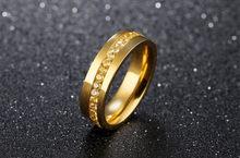 Новые модные синие туфли с украшением в виде кристаллов Титан Сталь кольцо Для мужчин модные золотые ювелирные кольца Для мужчин Обручение ...(Китай)