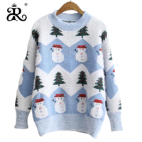 2019 autumn and winter new Christmas sweater Christmas tree snowman pullover sweater women