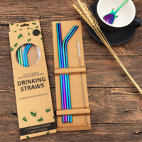 Hot Selling FDA Custom Metal Stainless Steel Straw With Case Paper Box