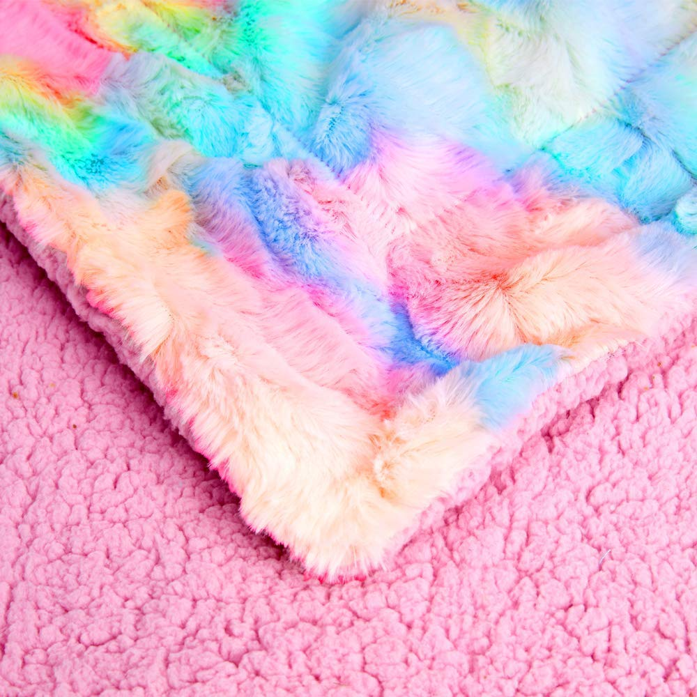 100% polyester tie-dyed  rainbow brushed colorful winter children plush throw blanket