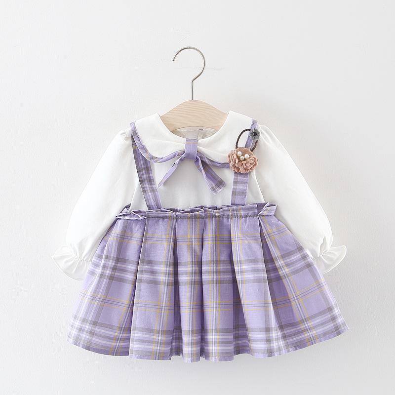 สาวชุด 2019 สาวลายสก๊อตเด็กเจ้าหญิงชุดเด็กเสื้อผ้าชุดเด็กทารก