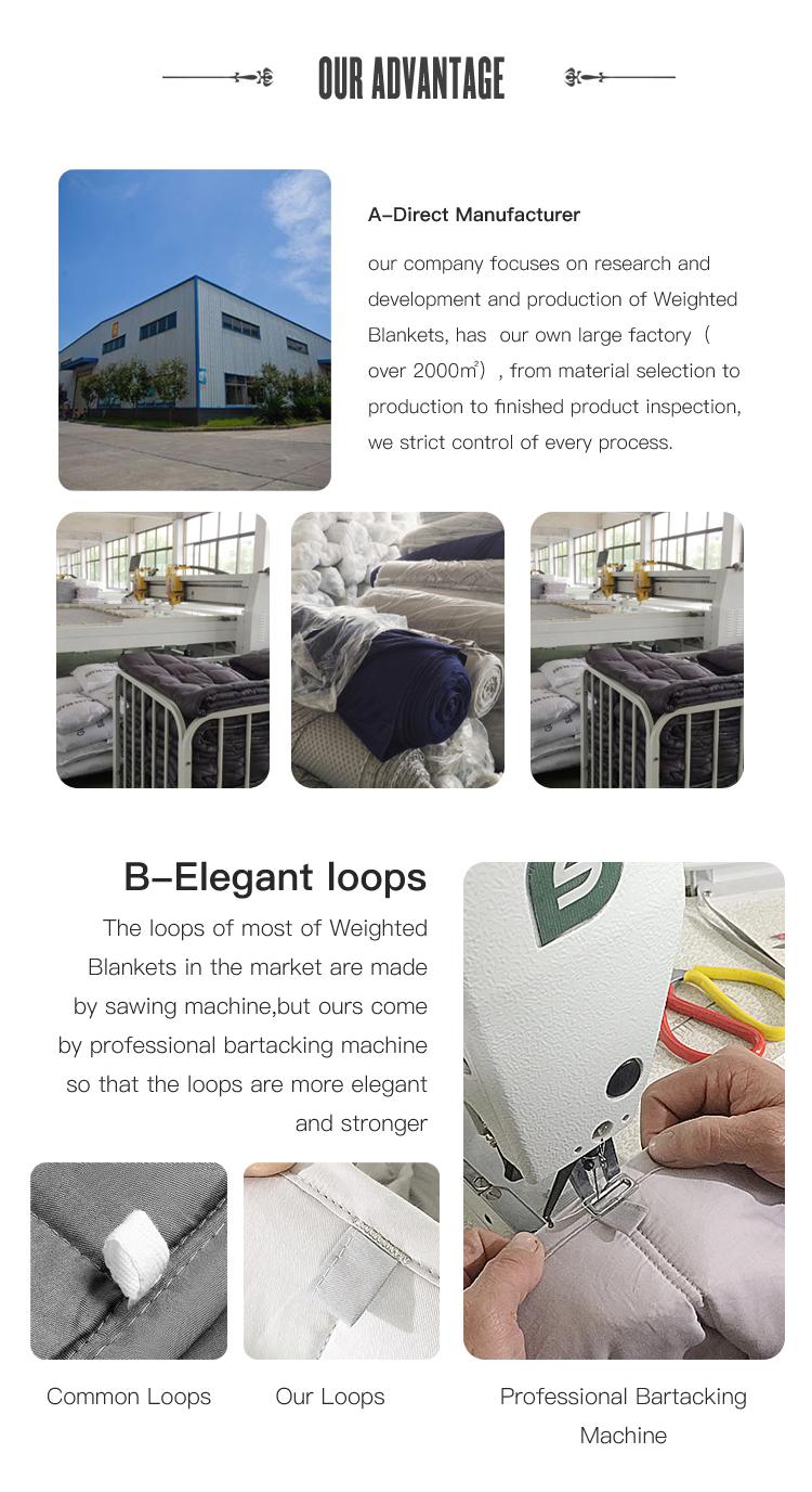 공장 제조 15 lbs 감각 대나무 중력 가중 담요 minky 도트 커버