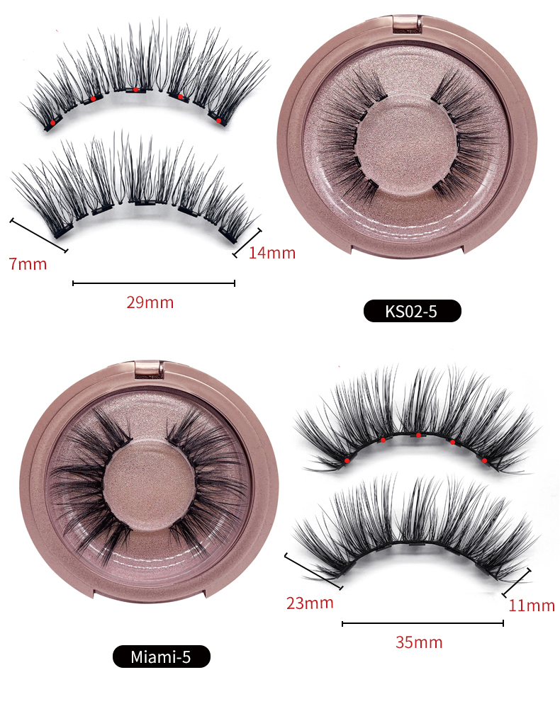 Factory Wholesale Round Packaging Volume Eyelash Extensions Single Pair Of Five Magnetic Eyelashes With Liquid Eyeliner
