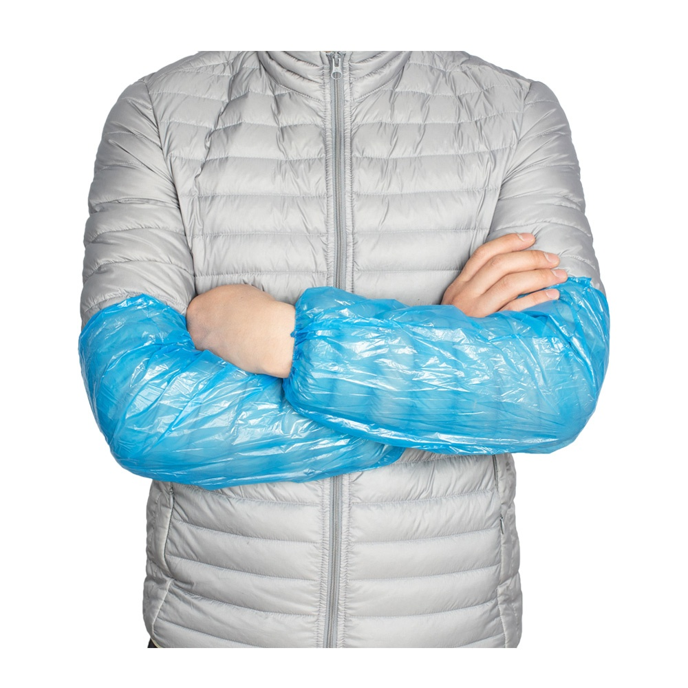 Polyethylene Ldpe Plastic Arm Disposable Pe Sleeve Cover With Elastic Cuff