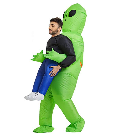 Green alien halloween party funny dress Inflatable pvc Costumes For Adults
