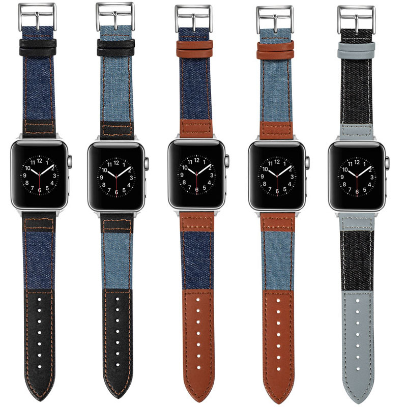 Canvas Jeans Quick Release Breathable Leather Watch Strap Compatible for iWatch Series 6/5/4/3/2 Band