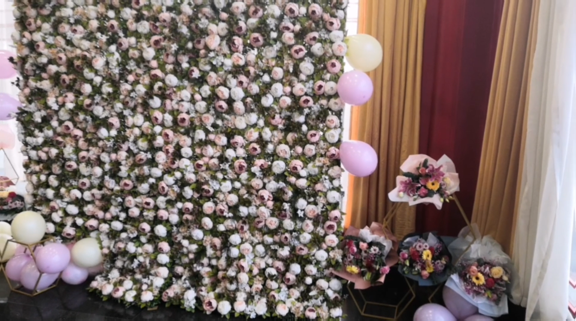 Customized wedding roll up decorative artificial flower wall backdrop FC1001