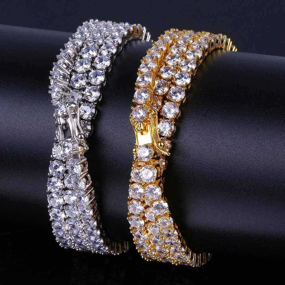 3mm 4mm 5mm Diamond CZ Zircon Tennis Chain Necklace Bracelet Punk Bling Jewelry Gold Silver Iced Out Men Women Chain Necklace
