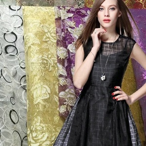 Fonesun-PS448 Custom matte style fashion design foil tulle organza fabric