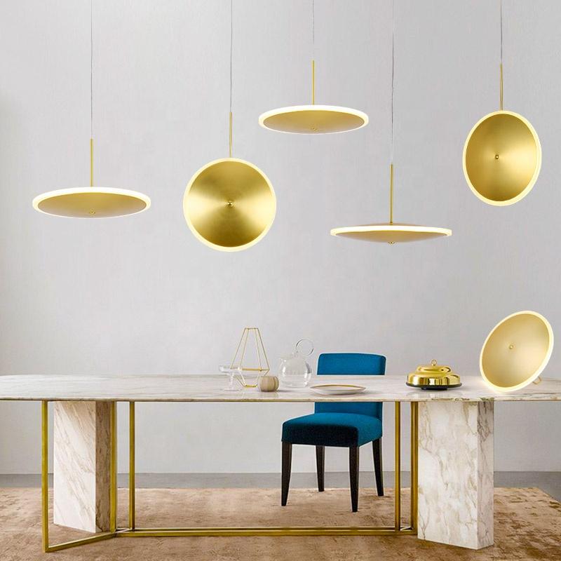 india market popular led gold alumium round acrylic suspension small pendant lamp for hotel