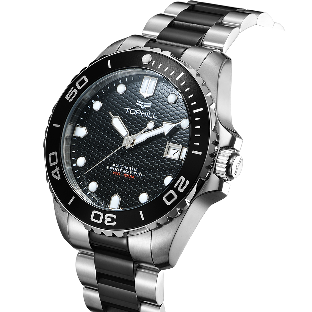 Dive Watch Custom 316L Stainless Steel <strong>Case</strong> <strong>Ceramic</strong> Bezel Superluminova Dial 10 ATM Automatic Diver Watch