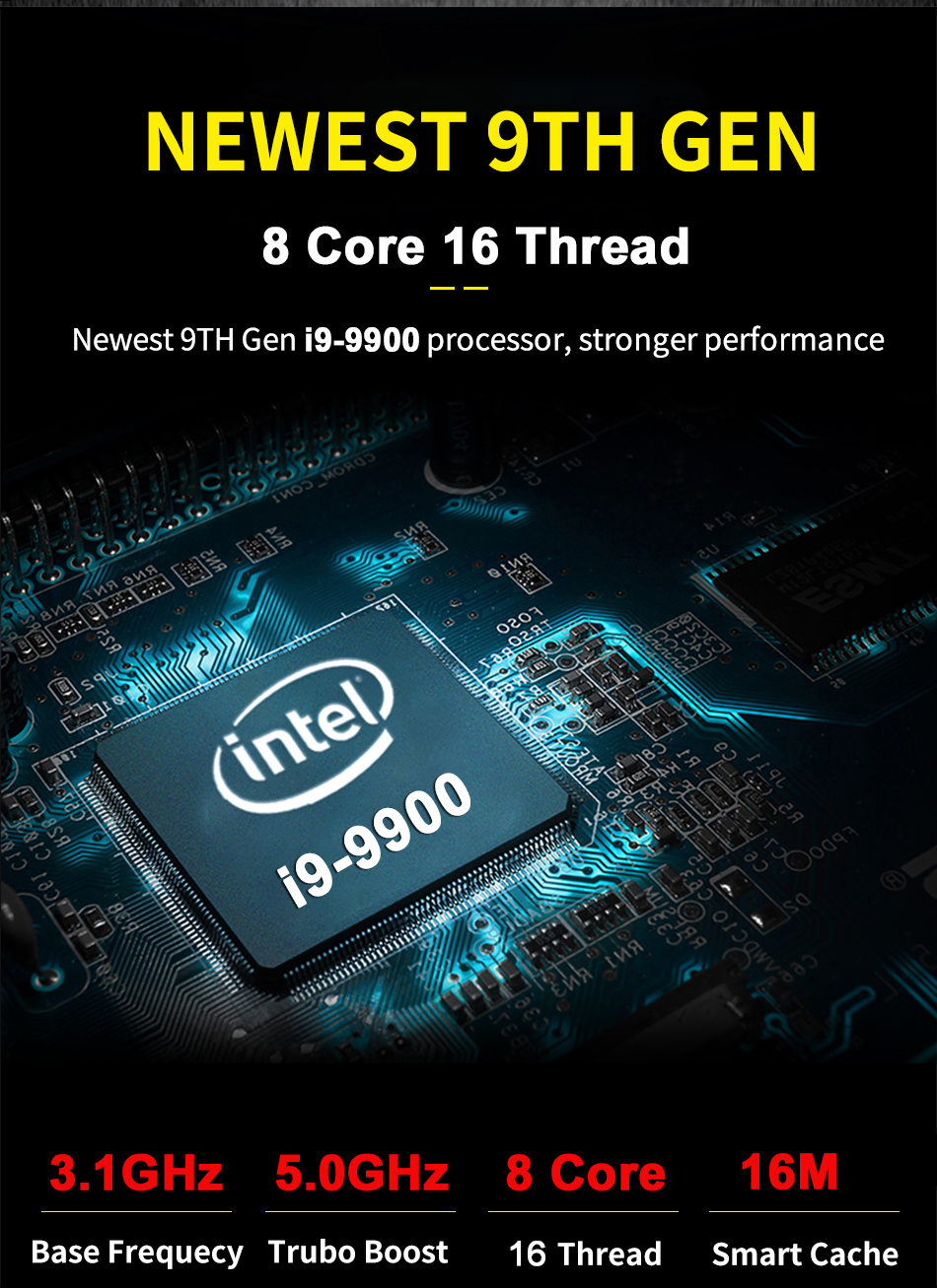 Intel i9 9900 Desktop Gaming Computer Mini PC Windows10 GTX 1650 4Gb GDDR5 Dedicated Graphics Multi Display NVME WiFi 3D Design