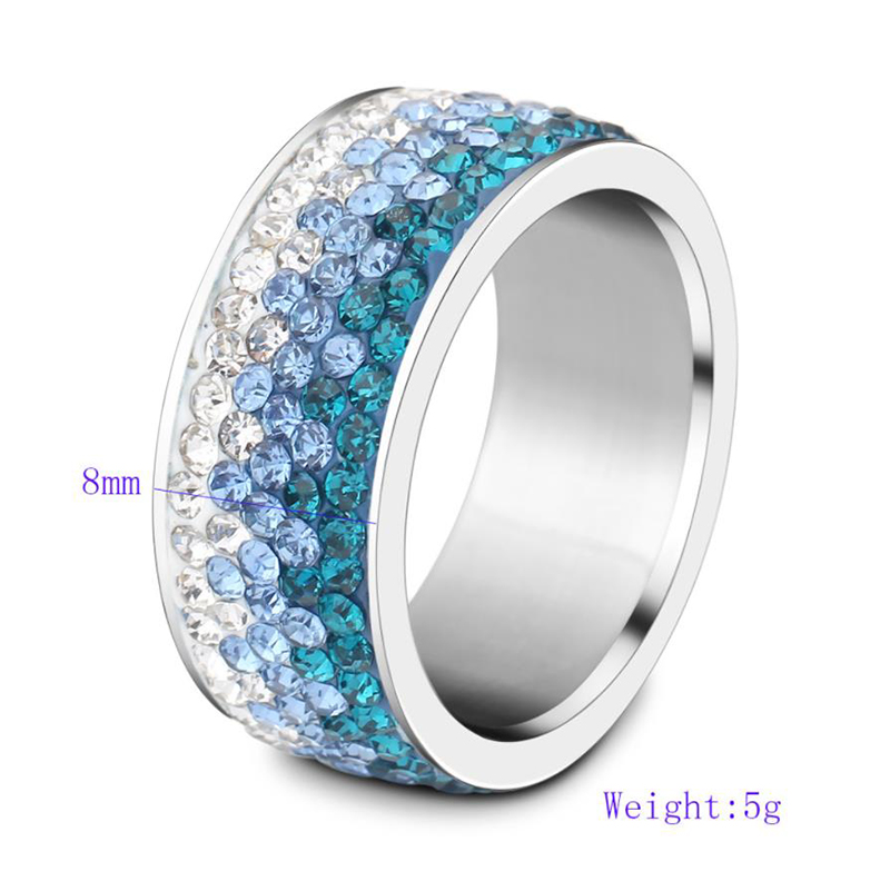 product-Popular Stainless Steel Diamond Ring, Ornaments Progressive Blue Color Ring-BEYALY-img