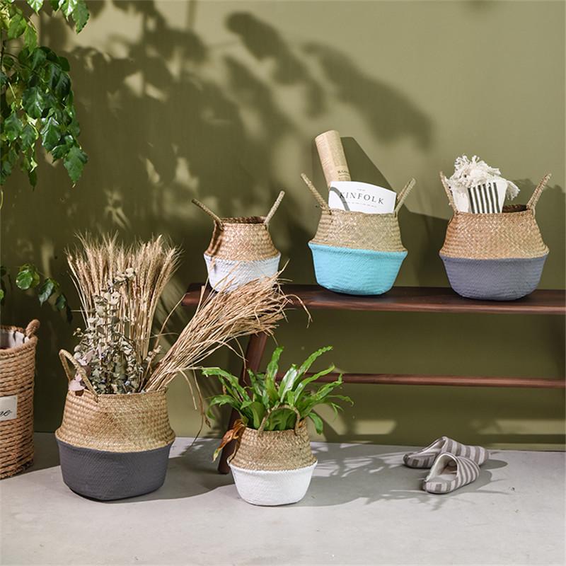 Бамбуковые корзины для хранения ручной работы, складные корзины для белья, плетеные корзины из ротанга, цветочные горшки, корзины для растений