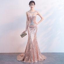 Золотое китайское сексуальное платье-Русалка с открытыми плечами, восточные вечерние женские платья-Ципао для выступлений на сцене, элеган...(Китай)