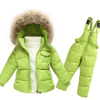 Customized Girls Two Piece Winter Warm Hooded Fur Trim Down Snowsuit With Ski Bib Pants Set Ski Set