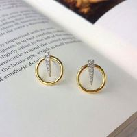 JD Jewelry Custom INS High Quality S925 Sterling Silver Circle Gold Plated Stereo Round Hoop Earring with Zircon