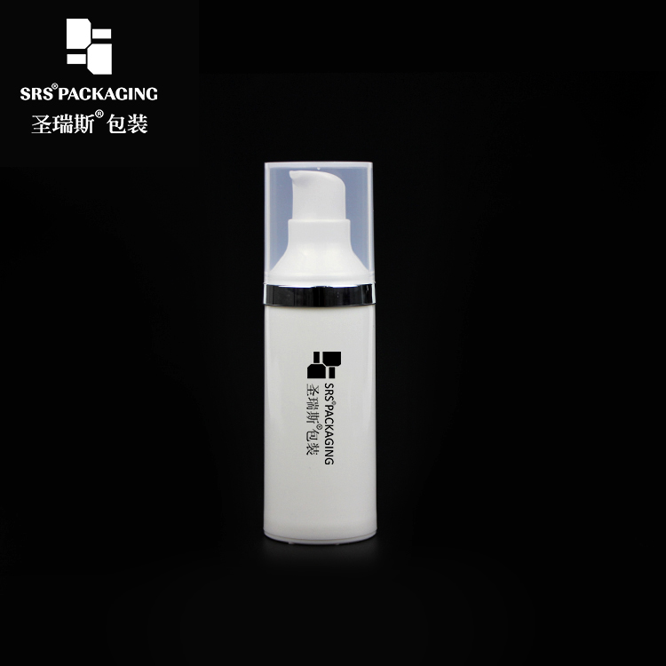 Eco-friendly PP Plastic Skin Care White Airless Pump Bottle 15ml  30ml  50ml