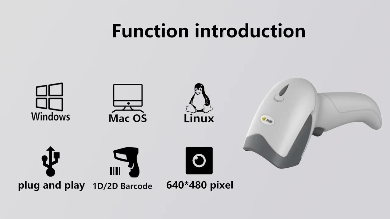 Pemindai Kode Qr Genggam Berkabel USB 1d 2d, Pemindai Kode Batang dengan Colokan dan Putar