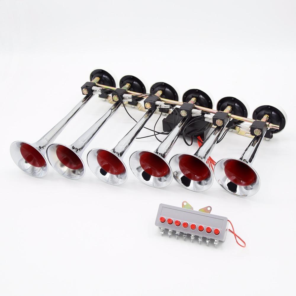 Поддержка морские перевозки горячей продажи 12v 24v Громкий шесть трубы труба Электрический музыкальный автомобиль грузовик воздушный рожок