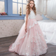 Wholesale Boutique Wholesale Junior Party Dresses Girls Wedding Ball Gowns Butterfly Lace Applique Bridesmaid Pink Dress