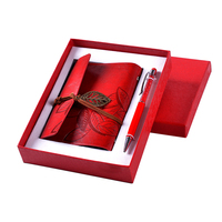 2020 Simple Promotional Custom Leather Notebook And Pen Office Stationery Gift Set In Box