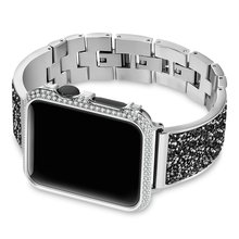 Роскошный Алмазный чехол + ремешок для Apple Watch, 44 мм, 40 мм, 38 мм, 42 мм, чехол iWatch Series 5, 4, 3, 2, 1, браслет из нержавеющей стали для женщин(China)