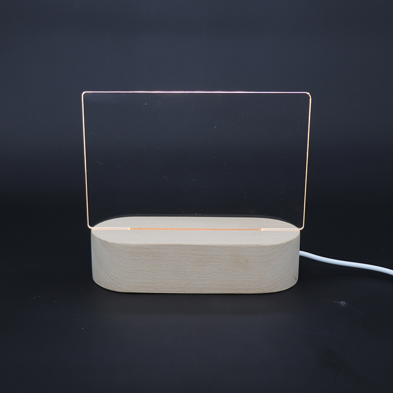 Zhongshan Hot Sale Blank Acrylic Desk OEM Plate With Wooden Lamp Base Baby Night Light