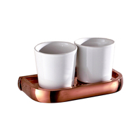 Wall Mounted Brass Double Cup&Tumbler Holder For Bathroom Luxury Rose Gold Toothbrush Toothpaste Holder