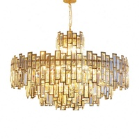 Modern Living Room Luxury Lamp Round Stainless Steel Crystal Chandelier Pendant Lights