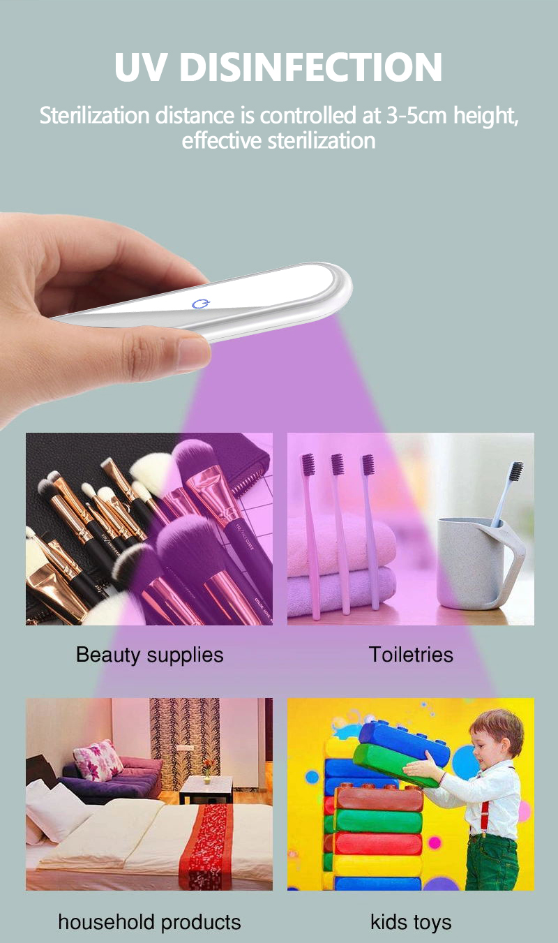 Travel hotel home handheld uv sanitizing wand with rechargeable built in battery