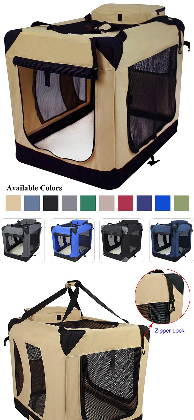 Amazon Hot Verkoop Stalen Buis Premium Folding Eenvoudige Draagbare Zachte Gewatteerde Hond Kooi Huisdier Waterdichte Stof Hond Krat Carrier Kennel