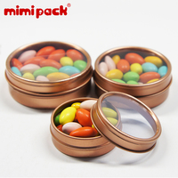 Hot Sale Round Tin Boxes with Window Lid Empty Food Grade Chocolate Cookies Tinplate Cans in Rose Gold