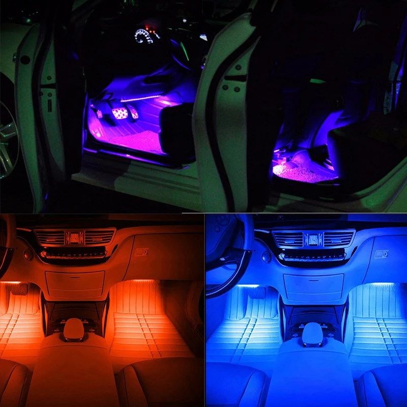 Wireless Remote Control car interior led light 12V 4pcs Multicolor Atmosphere Underdash Lighting Kit