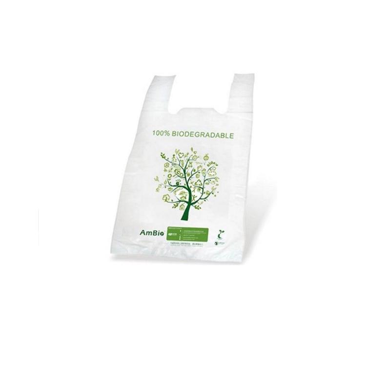 Çevre dostu Compostable ambalaj 100% biyobozunur mısır nişastası alışveriş T-shirt çanta taşımak