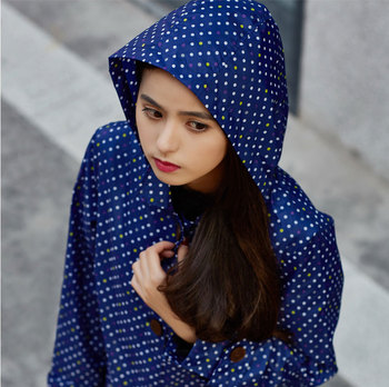 Fashionable popular design navy blue simple high quality ladies long rain coat with hood