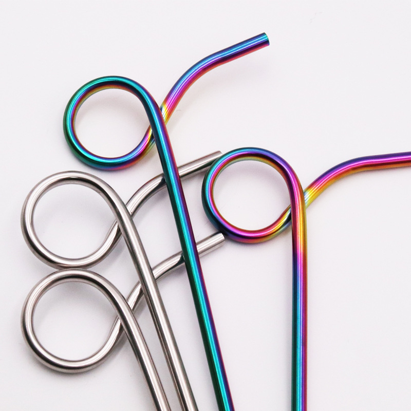 reusable long bent stainless steel drinking straws